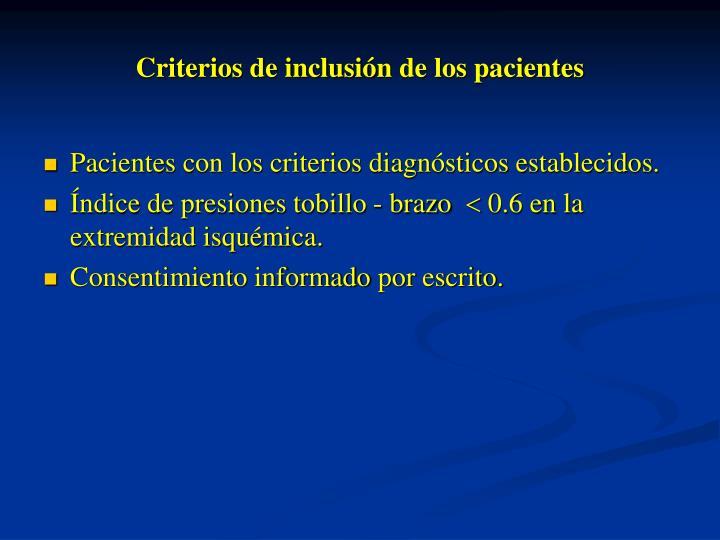 Criterios de inclusiónde los pacientes