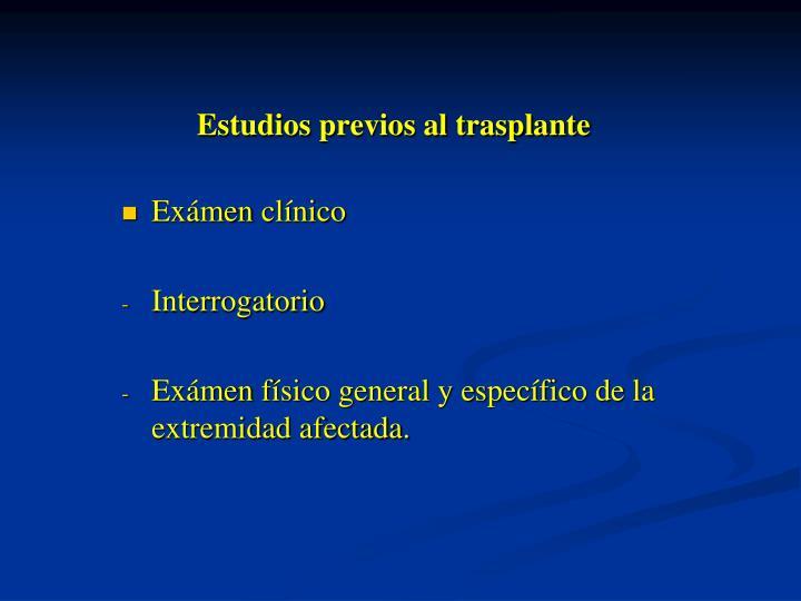 Estudios previos al trasplante