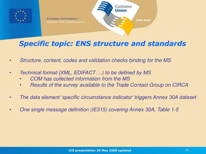 Specific topic: ENS structure and standards