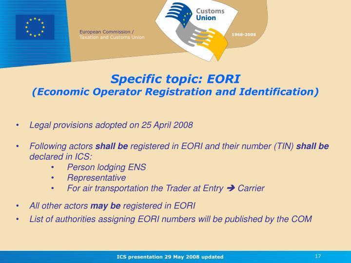 Specific topic: EORI