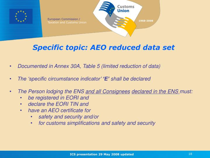 Specific topic: AEO reduced data set