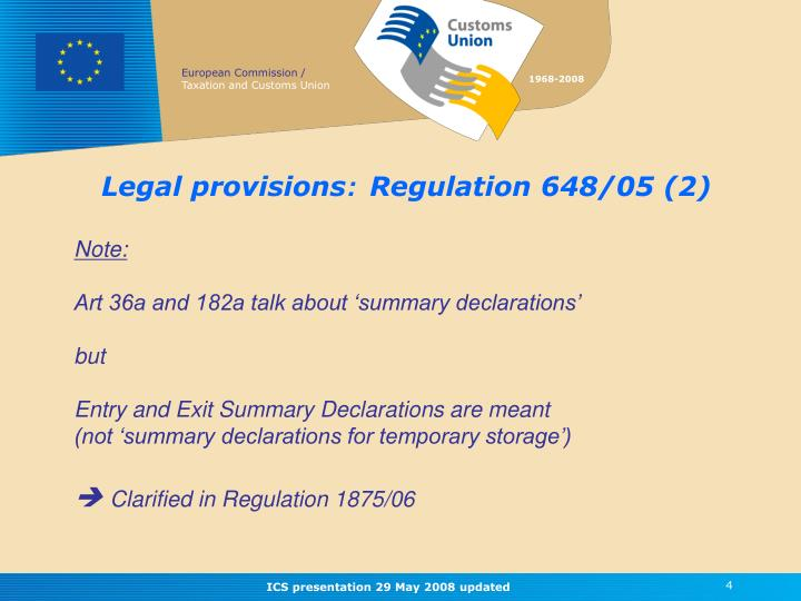 Legal provisions