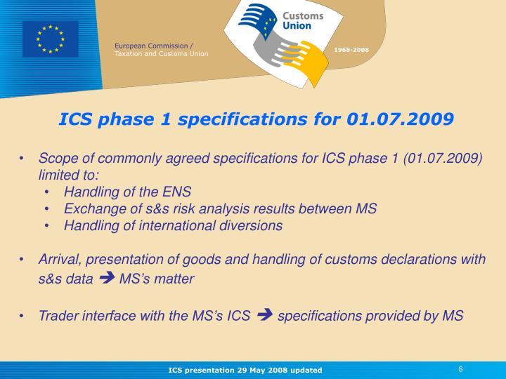 ICS phase 1 specifications for 01.07.2009
