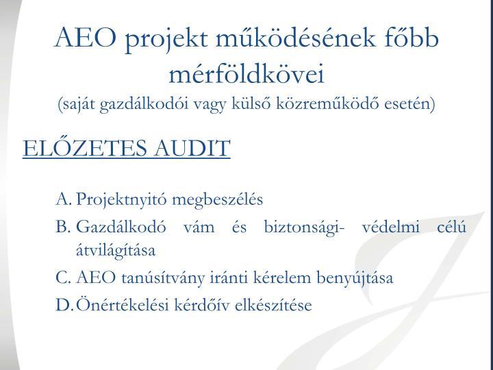 AEO projekt működésének főbb mérföldkövei