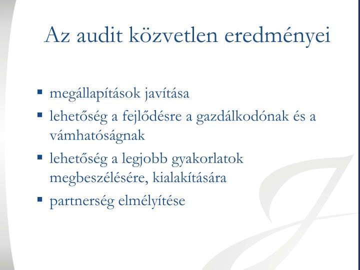 Az audit közvetlen eredményei