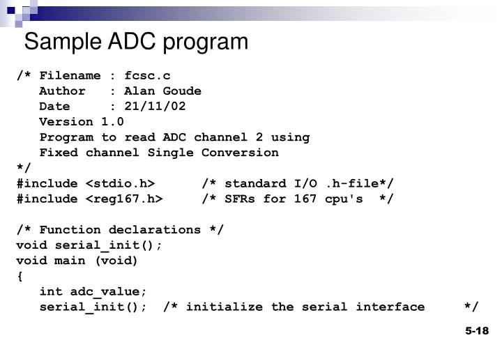 Sample ADC program