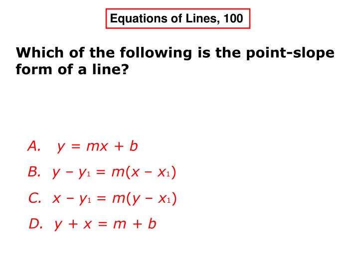 Equations of Lines, 100