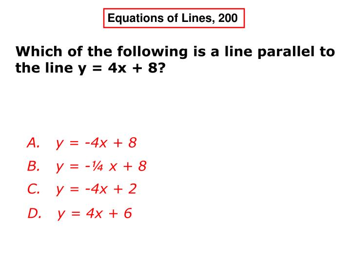 Equations of Lines, 200