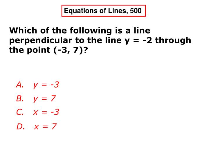 Equations of Lines, 500