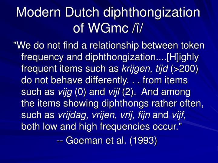 Modern Dutch diphthongization of WGmc /
