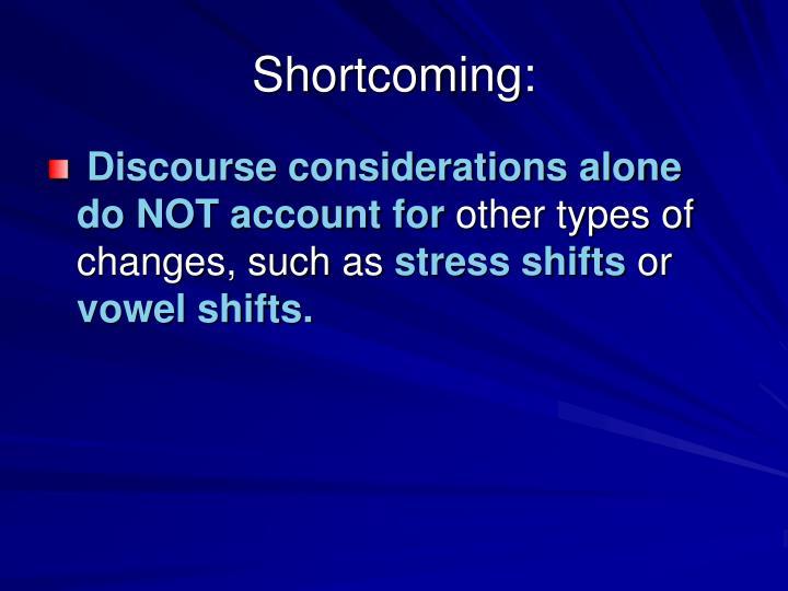 Shortcoming: