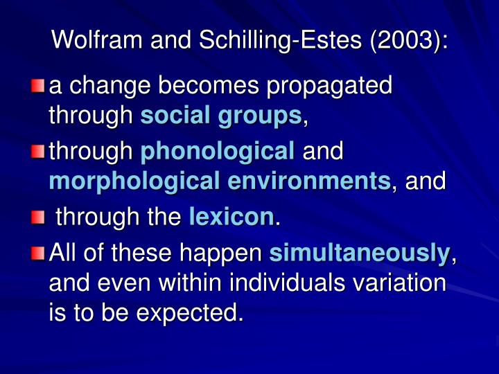 Wolfram and Schilling-Estes (2003):