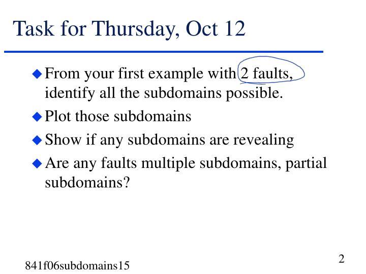 Task for Thursday, Oct 12