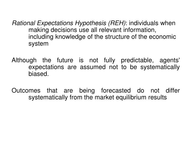 Rational Expectations Hypothesis (REH)