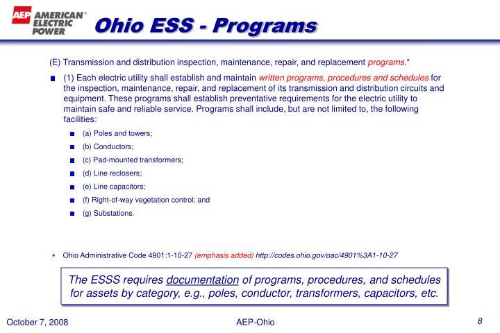 Ohio ESS - Programs