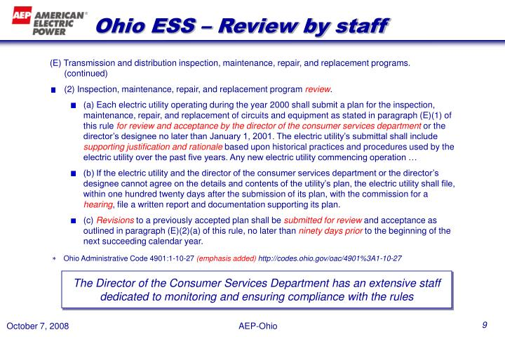Ohio ESS – Review by staff