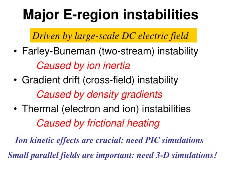 Major E-region instabilities