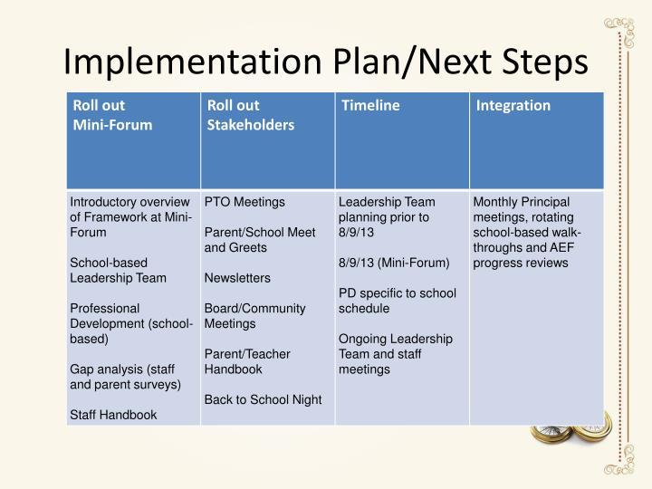 Implementation Plan/Next Steps