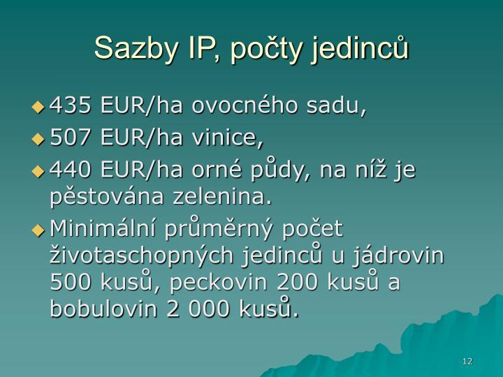 Sazby IP, počty jedinců