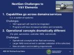 nextgen challenges to v v elements