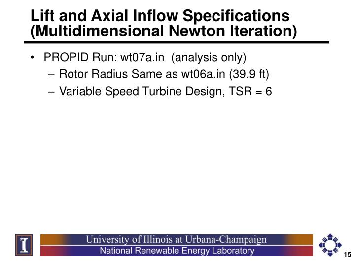 Lift and Axial Inflow Specifications     (Multidimensional Newton Iteration)