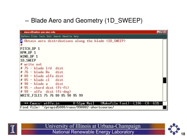 Blade Aero and Geometry (1D_SWEEP)