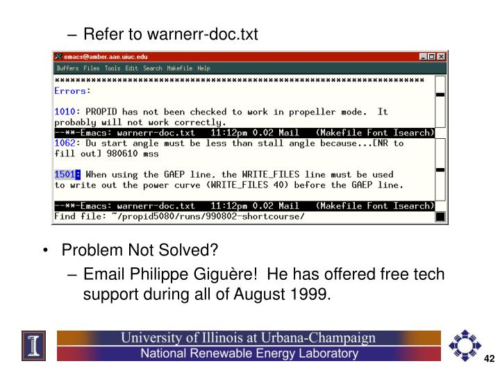 Refer to warnerr-doc.txt