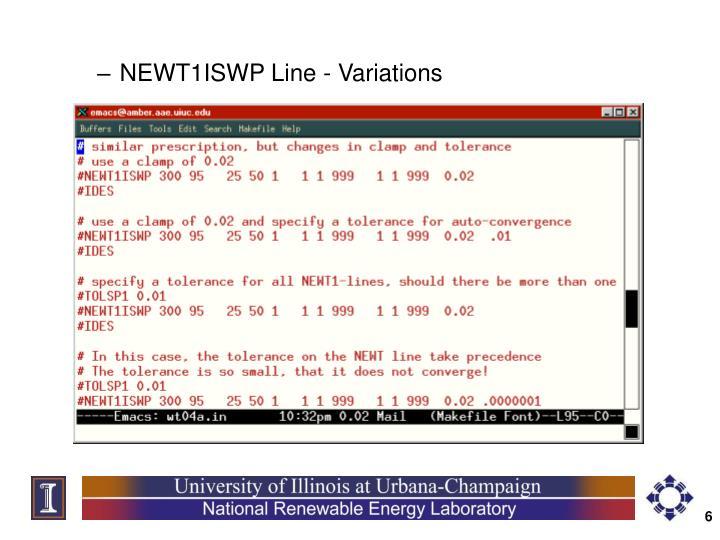 NEWT1ISWP Line - Variations