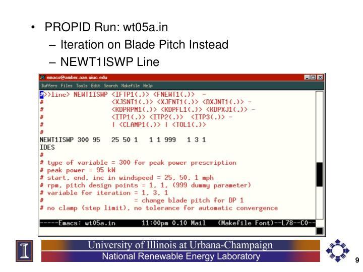 PROPID Run: wt05a.in