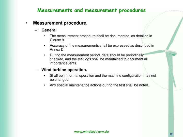 Measurements and measurement procedures