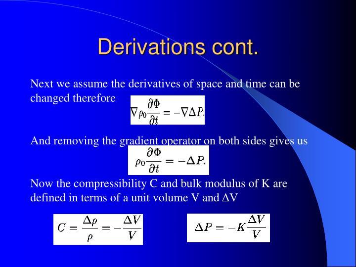 Derivations cont.