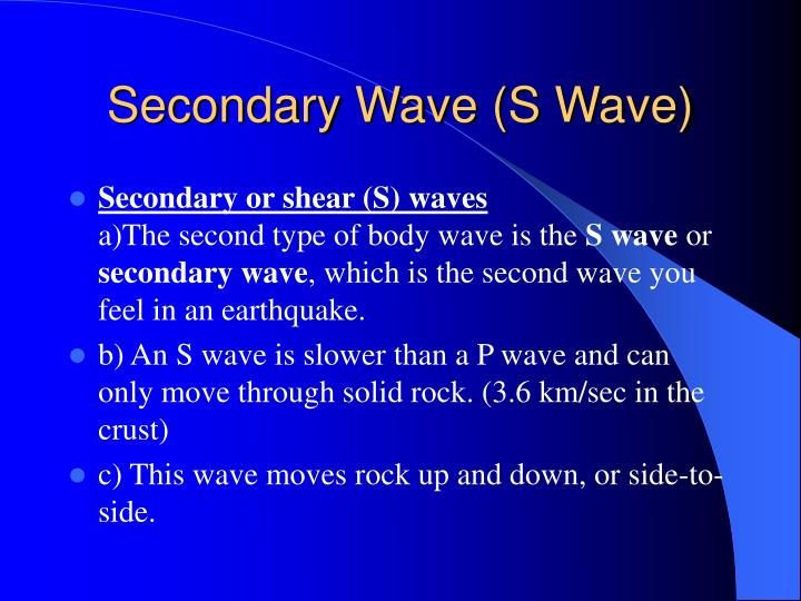 Secondary Wave (S Wave)