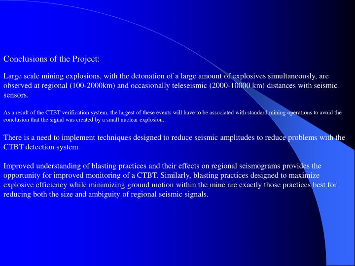 Conclusions of the Project: