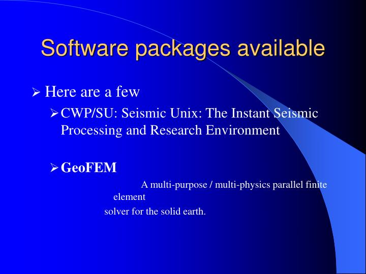 Software packages available