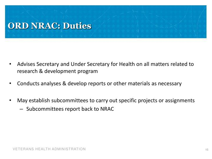 ORD NRAC: Duties