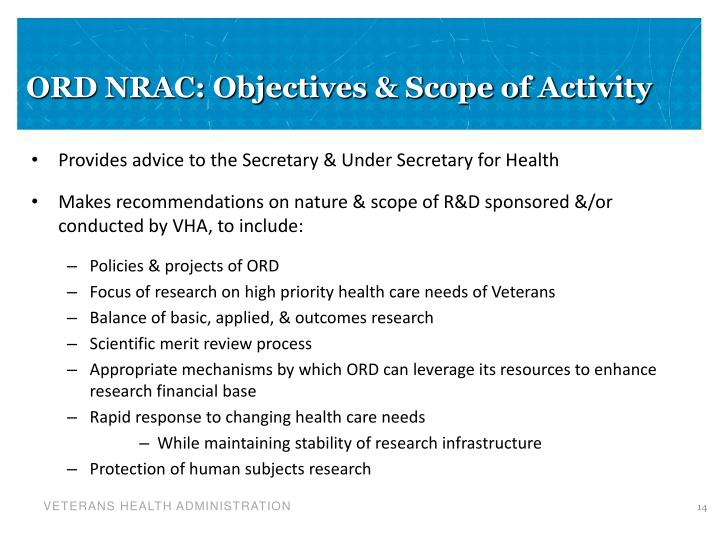 ORD NRAC: Objectives & Scope of Activity