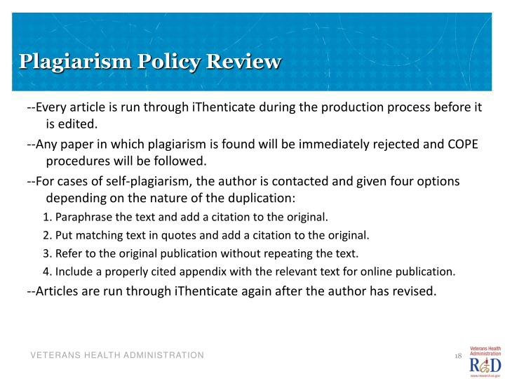 Plagiarism Policy Review