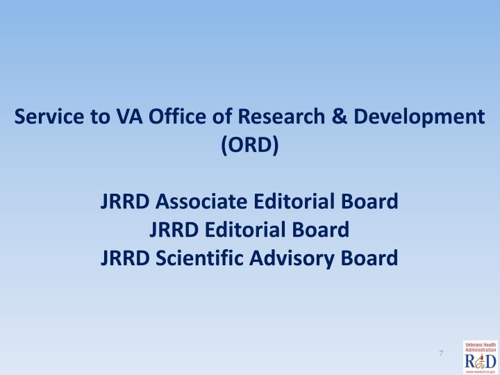 Service to VA Office of Research & Development (ORD)
