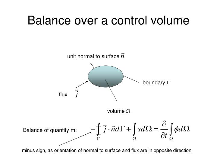 Balance over a control volume
