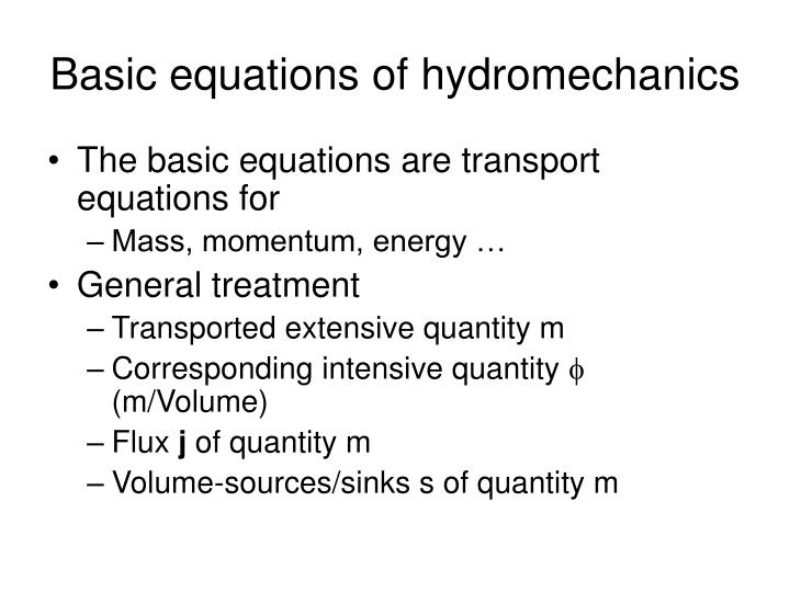 Basic equations of hydromechanics