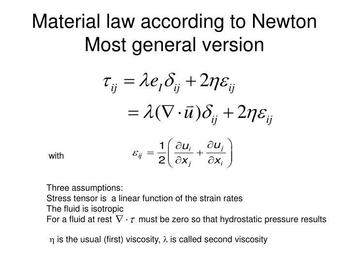 Material law according to Newton