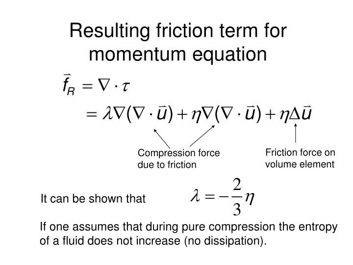 Resulting friction term for momentum equation