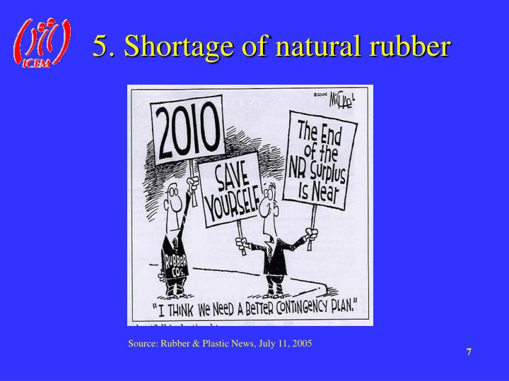 5. Shortage of natural rubber