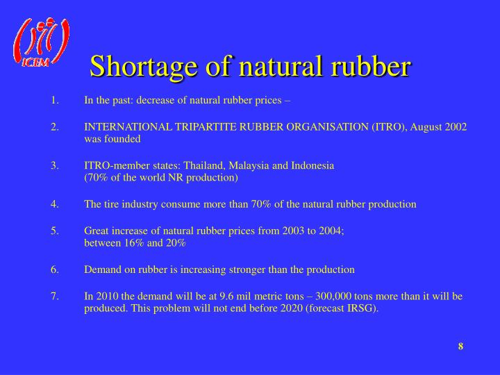 Shortage of natural rubber