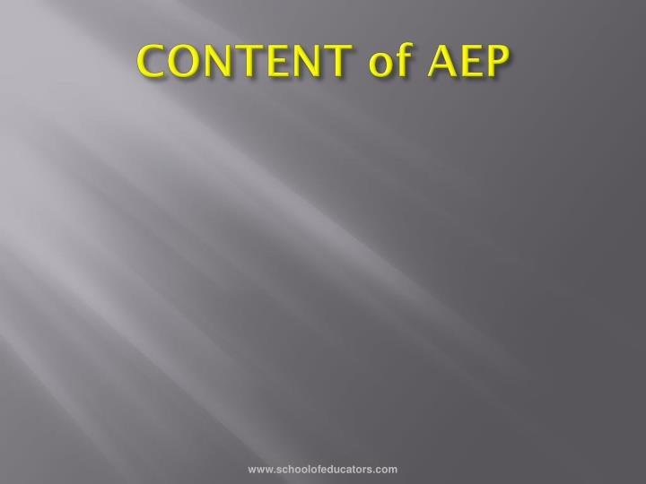 CONTENT of AEP