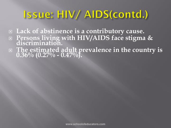 Issue: HIV/ AIDS(contd.)