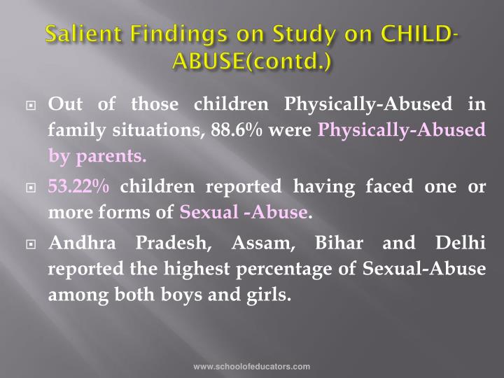 Salient Findings on Study on CHILD-ABUSE(contd.)