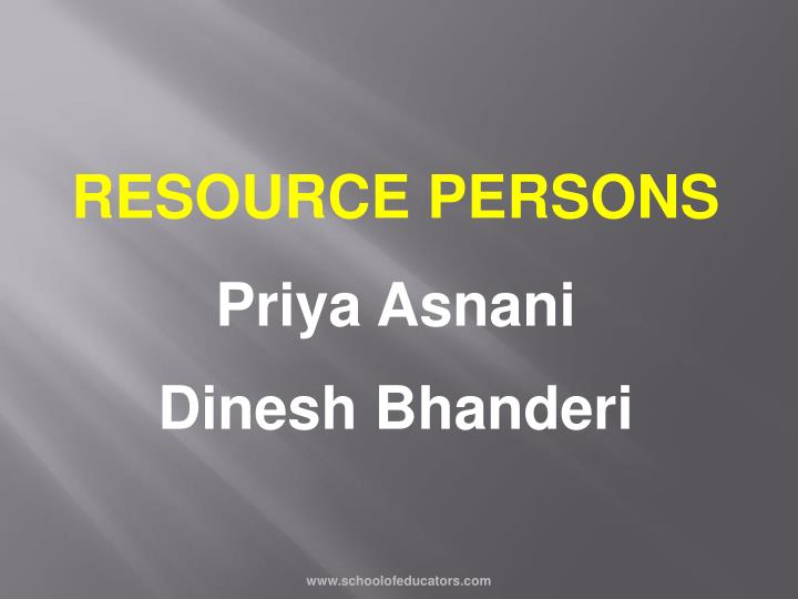 RESOURCE PERSONS