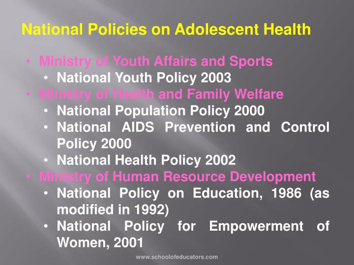 National Policies on Adolescent Health