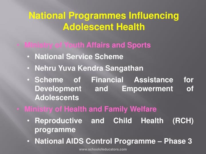 National Programmes Influencing Adolescent Health